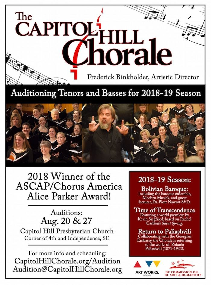 Auditioning tenors and basses for the 2018-2019 season
